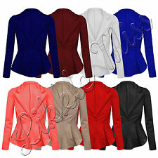 Womens Long Sleeve Button Ladies Frill Shift Slim Fit Peplum Blazer Jacket Coat