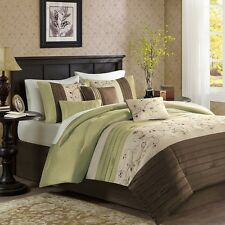 7pc Luxury Green Brown Embroidered Floral Comforter Set AND Decorative Pillows