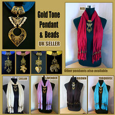 Gold Tone Pendant Necklace Jewellery Charm Accessories on Long fringed scarf