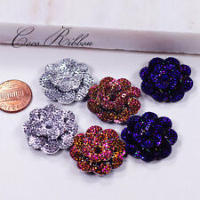 26mm 12/24/48 pcs Faux Rhinestone Flower Rose AB Color Flatback Resin Cabochons