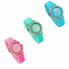 Fashion Rhinestone Jelly Silicone Rubber Quartz Analog Women Ladies Wrist Watch