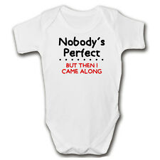 Nobody's Perfect Funny Baby Grow | Newborn Baby Vest | Gift Idea | New Mum Dad