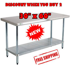 "30"" x 60"" Stainless Steel Commercial Work Table with Galvanized Legs Undershelf"