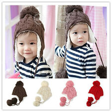 Toddler Kid Ear Flap Beanie Cap Crochet Knit Hats Winter Baby Infant Boy Girl  X