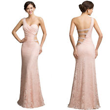 Backless One Shoulder Formal Cocktail Ball Gown Lace Evening Party Dress Long