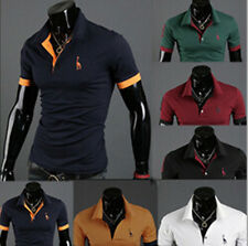 Fashion New Short Sleeve POLO Shirt Slim Fit Tops Tee T-shirt Mens Casual Style