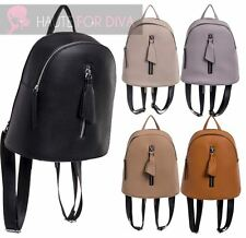 LADIES FAUX LEATHER COLLEGE BAG ZIP FRONT DETAIL RUCKSACK TRAVEL BACKPACK