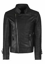 Mens Leather Jacket Black Slim fit Biker Motorcycle Genuine Leather Jacket MJ705