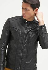 Mens Leather Jacket Black Slim fit Biker Motorcycle Genuine Leather Jacket MJ703
