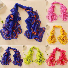 Women Girls Solid Chiffon Long Soft Neck Scarf Shawl Scarves Stole Wraps New  fX