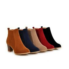 Womens Faux Suede Shoes Chunky Thick High Heel Zip Ankle Round Toes Boots UKB211