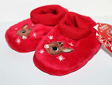 Rudolph NWT Boys Girls Infant XS 1 2 Rudolph Sock Top Slippers w Fuzzy Reindeer