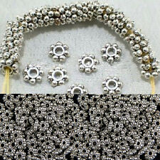 100pcs/400pcs Daisy Findings Pop Jewelry Spacer Beads Tibetan Silver 4mm/6mm