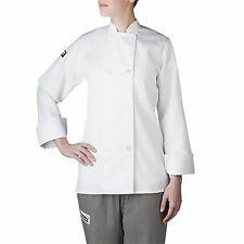 Chefwear 4420-40 Women's Long Sleeve Plastic Button Chef Jacket, White XS-5XL