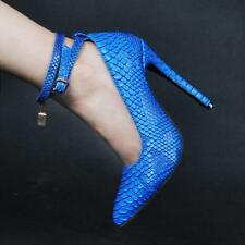 Womens Snakeskin sexy high heels pointed toe ankle strap shoes pumps stiletto
