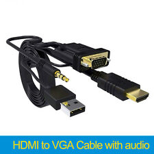 HDMI to VGA Cable adapter with audio and power supply for HDTV PC Laptop