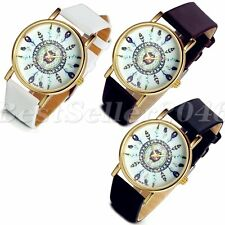 Womens Vintage Feather Analog Watches Dial Leather Band Sport Quartz Wrist Watch