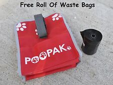 Dog Waste Poop Bag Canvas Carrier Pouch With Clip For Leash & Free Roll of Bags