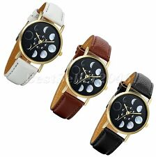 Casual Lunar Moon Eclipse Dial Wristwatch Women Leather Band Analog Quartz Watch