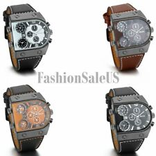 Men's Military Army 3 Time Zones Sport Quartz Leather Strap Casual Wrist Watch