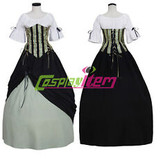 Medieval Victorian Renaissance Ball Gown Pirate Green Dress Costume Cosplay