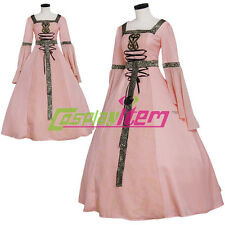 Pink Medieval Renaissance TUDOR Wedding Ball Gown Party Dress Costume Cosplay