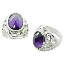 925 Sterling Silver Row Design Oval Shaped Purple CZ Prongs Setting Mens Ring FS