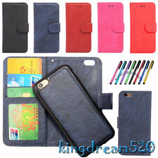 New 2in1 Book Flip Case PU Leather Skin Wallet Card Pouch Detachable Soft Cover