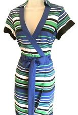 New KAREN MILLEN Dress Graphic Striped Shirt Blue Green White Cotton Size 8 10