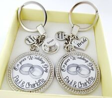 S.Keyring SET- Wedding RINGS, just married,bride and groom gift,wedding gift (A)