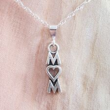 Mom Sterling Silver Pendant Charm and Necklace- Free Shipping