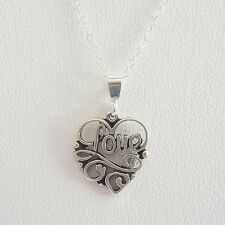 Love Scroll Heart Sterling Silver Pendant Charm and Necklace- Free Shipping