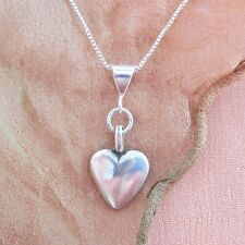 Medium Heart Sterling Silver Pendant Charm and Necklace- Free Shipping