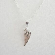 Angel Wing Mini Sterling Silver Pendant Charm and Necklace- Free Shipping
