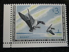 US RW30 $3 BRANT LANDING 1963 DUCK STAMP WITH PSE GRADE OF XF-Sup 95, Mint OGnh
