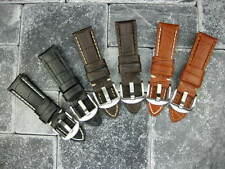 24mm Leather Strap Tang Buckle Watch Band Large PANERAI Long L Brown Blue Black