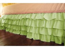 "Stylish 1-QTY Multi Ruffle Bed-Skirt/Valance Drop 8"" To 20"" Sage Solid"