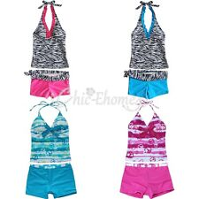 2Pcs Girls Polka Dot Zebra Swimsuit Bikini Tankini Swimming Csotume Age 5-16 Yrs