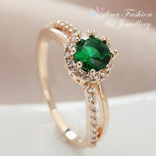 18K Rose Gold GP Made With Swarovski Element Round Cut Split Band Emerald Ring