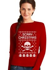Ugly Christmas Sweater - Skull Scary Christmas Cool Women Long Sleeve T-Shirt