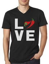 Gift for Spicy Food Lover - I Love Hot Chili Peppers V-Neck T-Shirt Funny