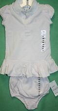 Ralph Lauren Girls Layette Pink White Stripe Dress Diaper Cover Pink Pony Logo