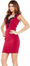 Little Mistress Dark Red Embroidered Bodycon Dress  UK Size 8