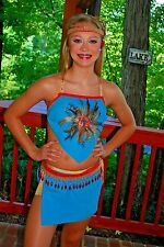 Turquoise blue  competition dance costume CSM CM AXS open Indian modern
