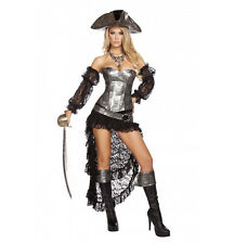 Roma 4pc Deadly Pirate Corset w/ Ruffled Skirt Grey & Black Deluxe Costume 4572