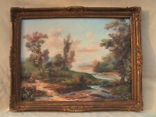 MAMMOTH IMPRESSIONIST HUDSON RIVER LANDSCAPE VERY COLORFUL LARGE OIL PAINTING !