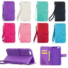 For iPhone Samsung Pretty Butterfly Flower Leather Card Wallet Stand Case Cover