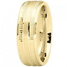 EXCELLENT 14K Yellow GOLD 7mm MODERN Wedding Band RING High Polish Finish