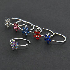 Women's Thin Flower Clear Crystal Nose Ring Stud Hoop-Sparkly Crystal Nose Ring