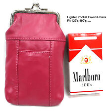 120's Soft Leather Cigarette Pouch Clasp Top Close Lighter Pocket 2pc for $15.50